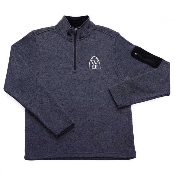 This heathered fleece pullover is brushed on the inside for a super soft feel and features a stand-up collar with zip closure, exterior handwarmer pockets, and the WEF Crest, embroidered on the left side of the chest.