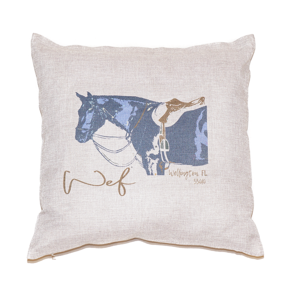 This 18in by 18in light gray linen pillow is perfect to add a touch of equestrian-inspired style to any interior.