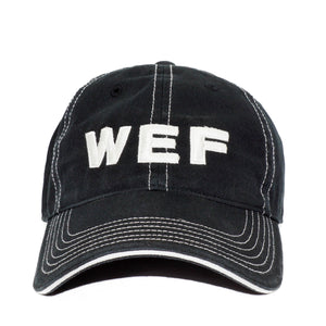 "This black cotton ballcap features white stitching, an adjustable back closure, and ""WEF"" in white block font on the front."