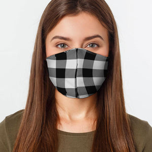 Black and White Plaid Face Cover