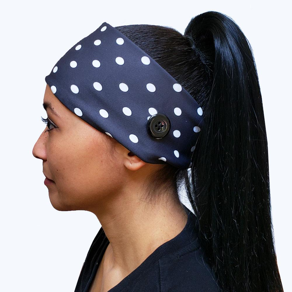 Black and White Polka Dot Button Headband