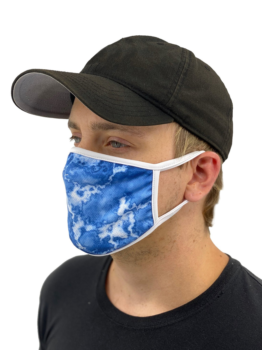 Blue Acid Wash Face Mask With Filter Pocket
