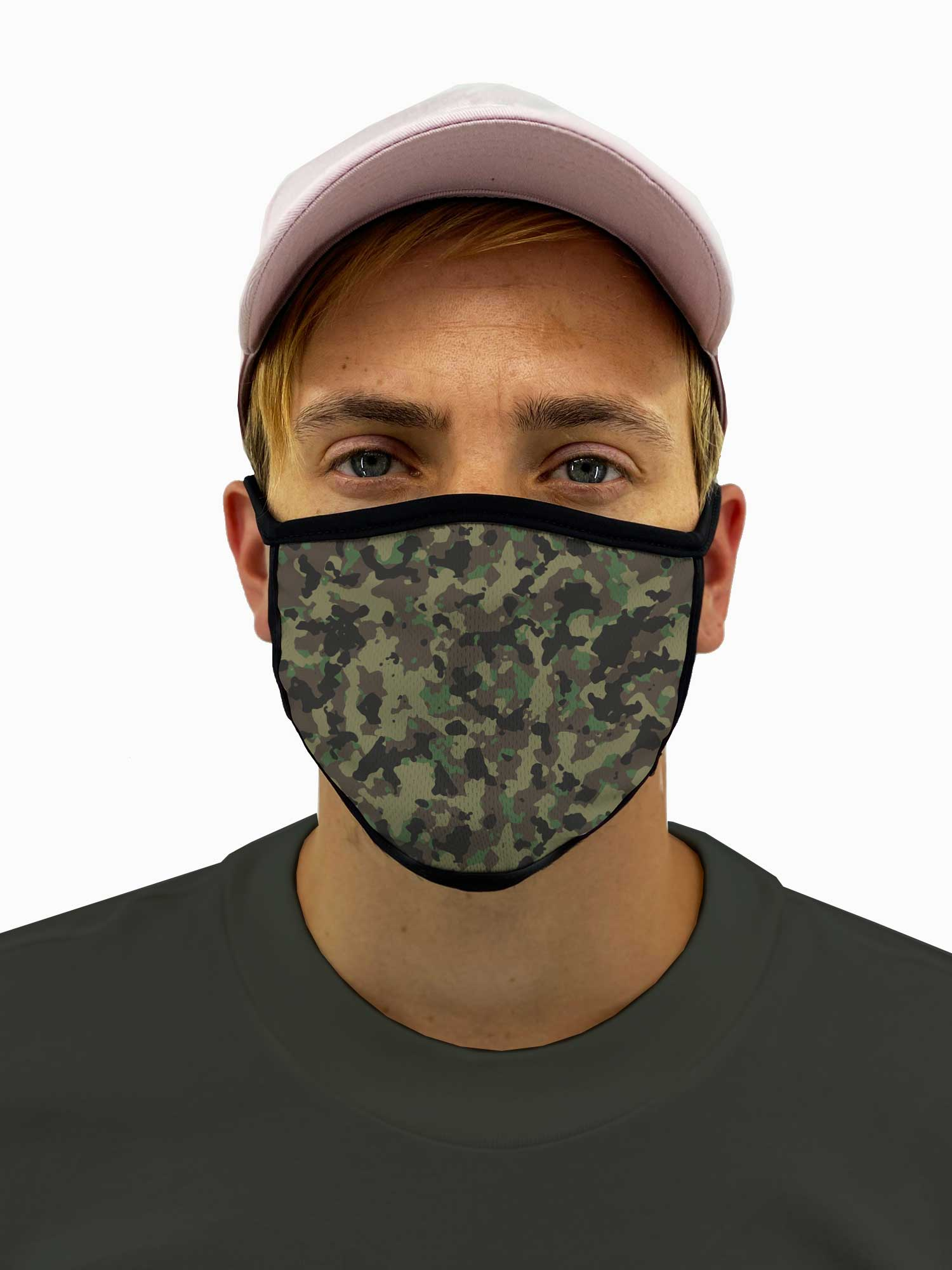 Army Camo Face Mask Filter Pocket