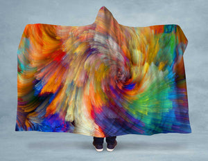 Colorful Painted Swirl Hooded Blanket