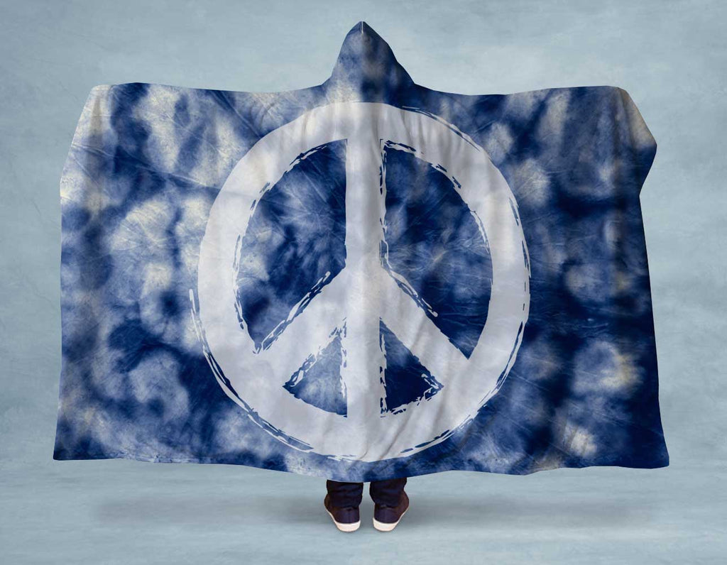 Blue Tie Dye Peace Hooded Blanket