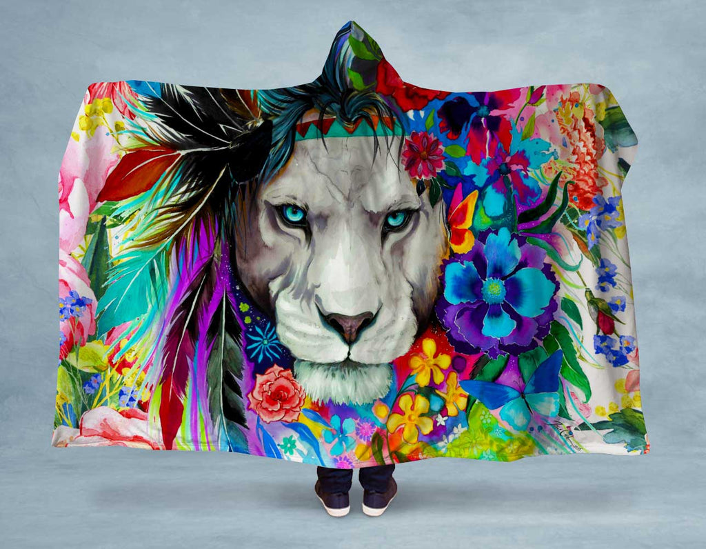 Flower Headdress Lion Hooded Blanket