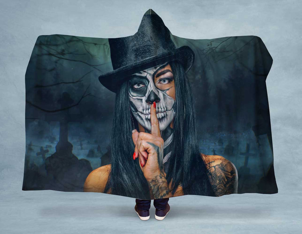 Skull Top Hat Hooded Blanket
