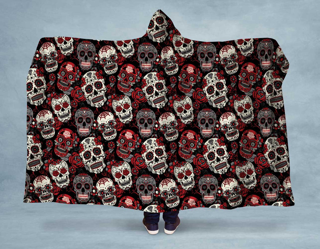 Red Black Sugar Skulls Hooded Blanket