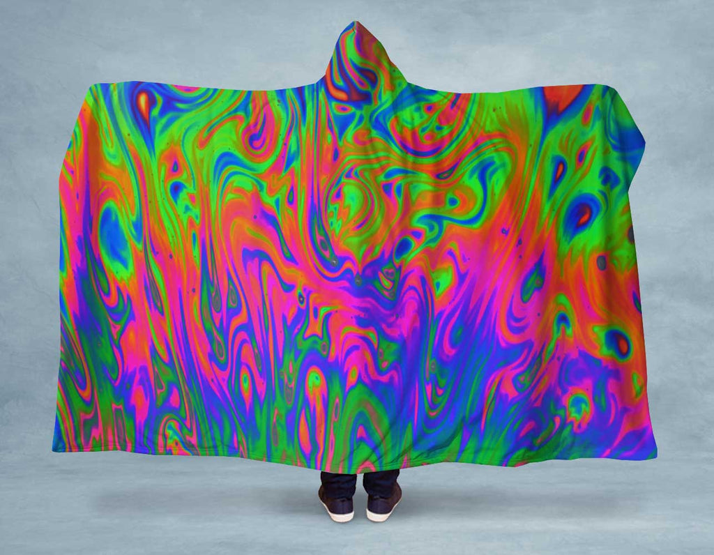 NEON Liquid Swirl Hooded Blanket