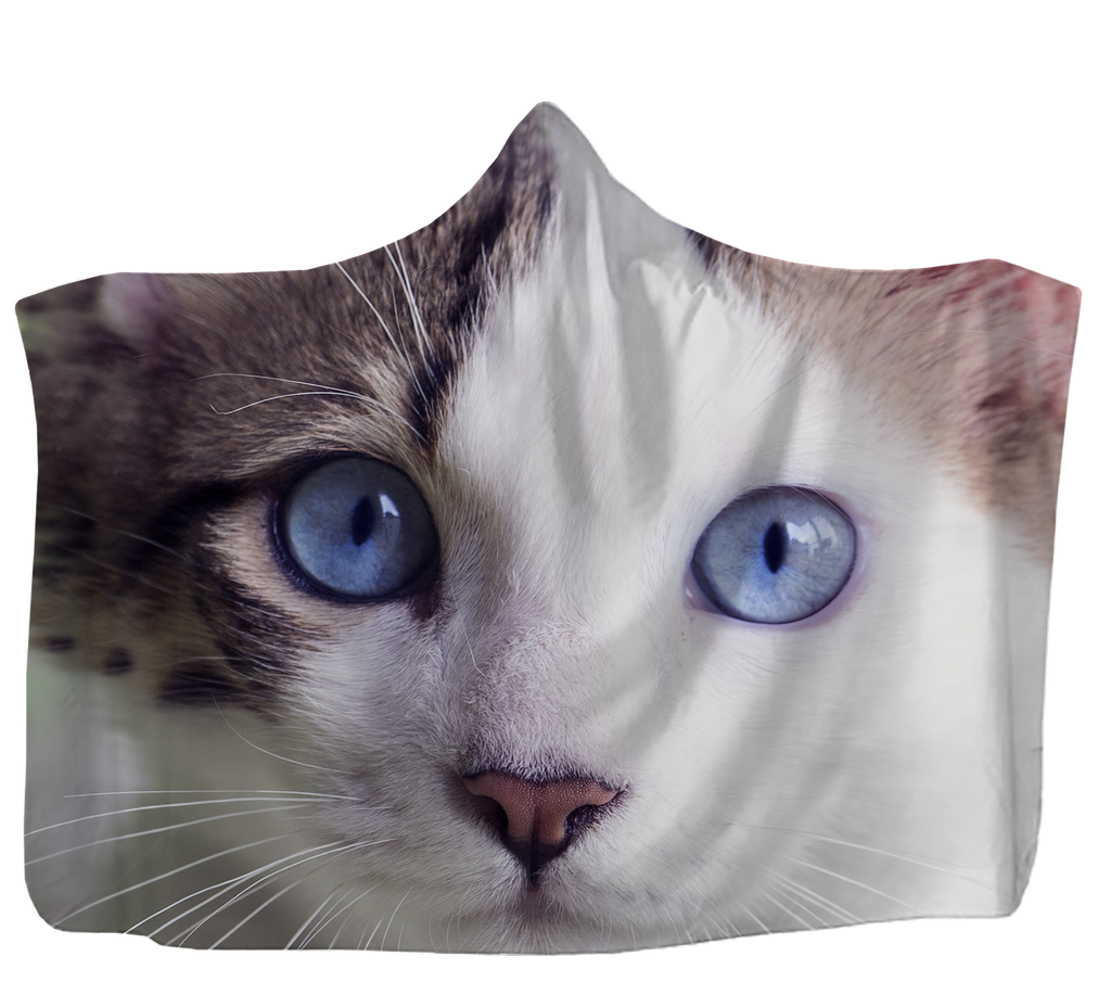 Blue Eyed Cat Hooded Blanket