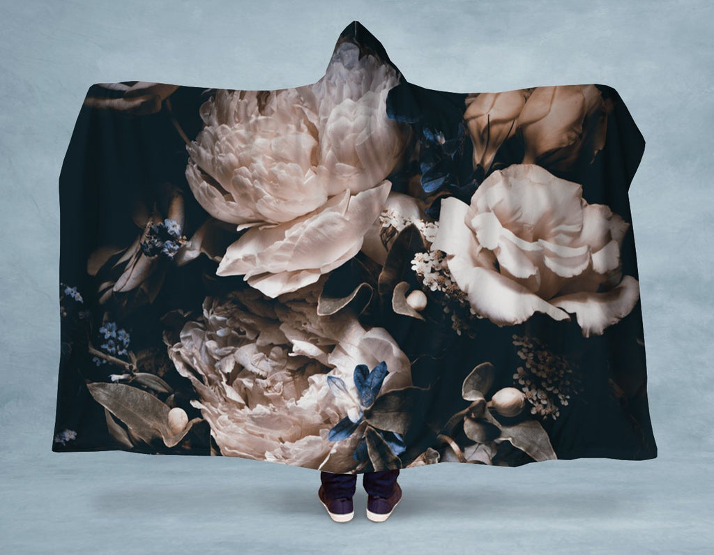 Dark Vintage Peonies Hooded Blanket