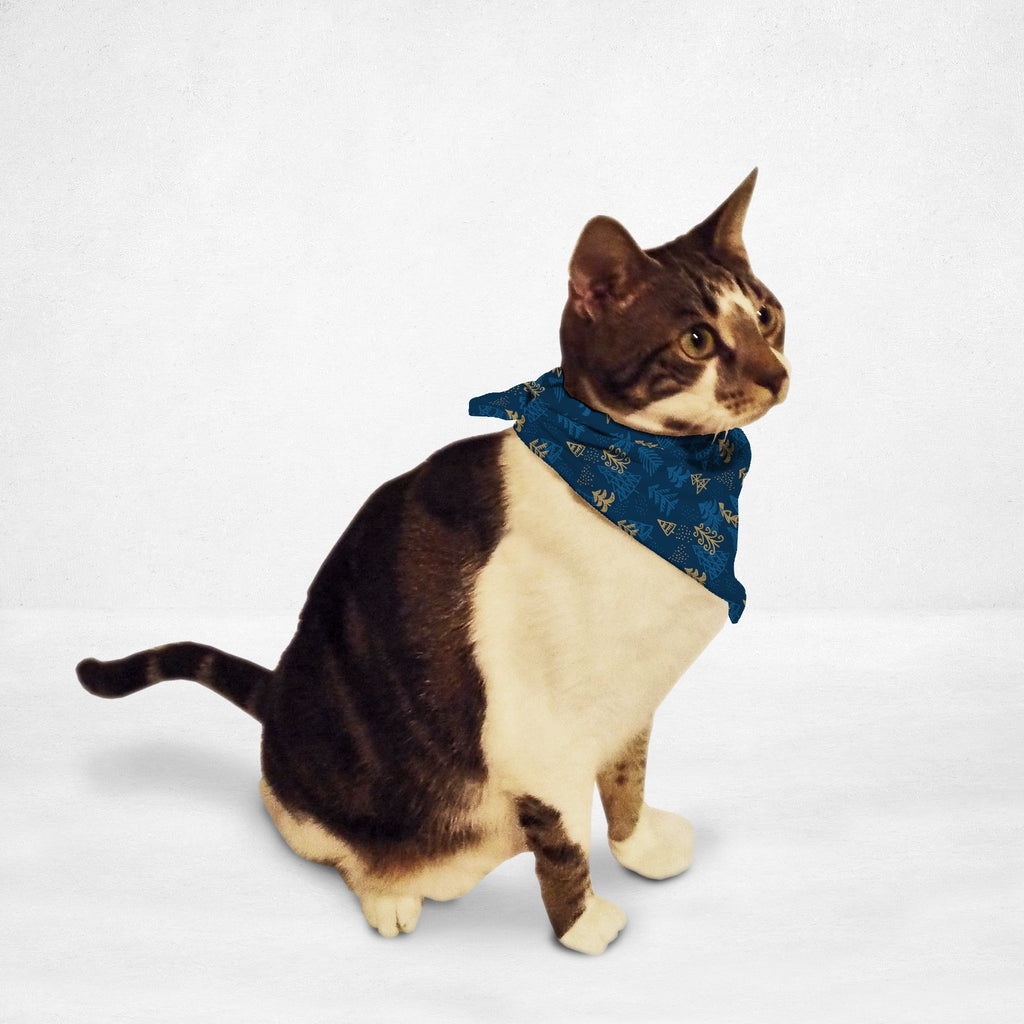 Blue Gold Christmas Tree Cat & Dog Bandana