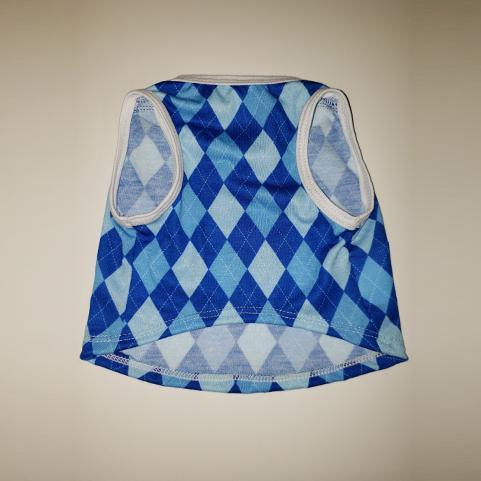Blue Argyle Cat and Dog T-Shirt