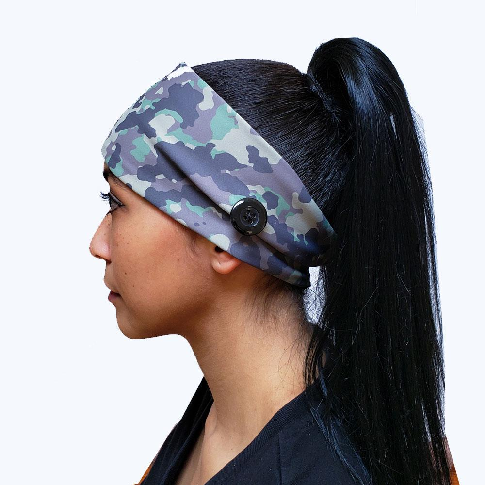 Green Army Camo Button Headband