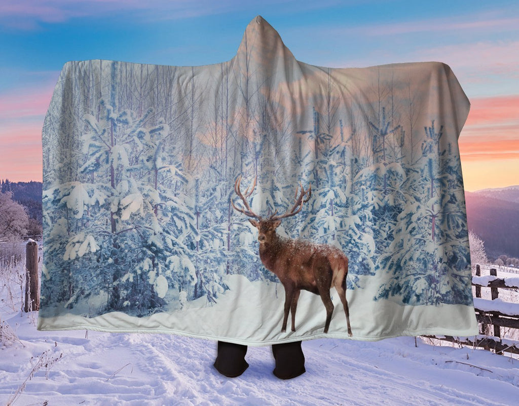 Snowy Reindeer Hooded Blanket