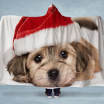 Puppy Santa Hooded Blanket