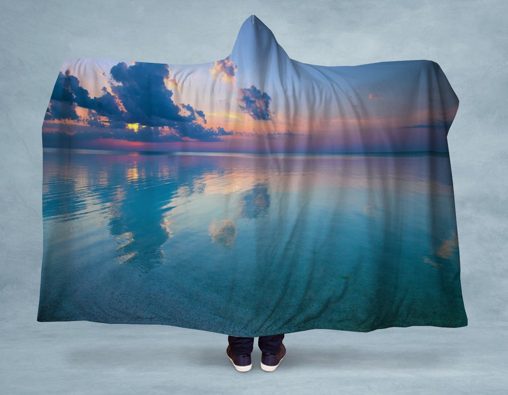 Peaceful Ocean Sunset Hooded Blanket