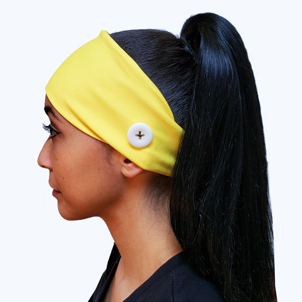 Yellow Button Headband