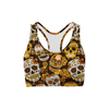 Orange Sugar Skulls Sports Bra