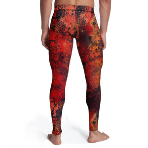 Men's Distressed Red Metal Tights