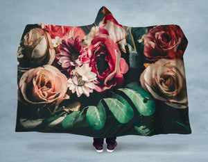 Vintage Roses Hooded Blanket