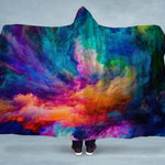 Rainbow Smoke Swirl Hooded Blanket