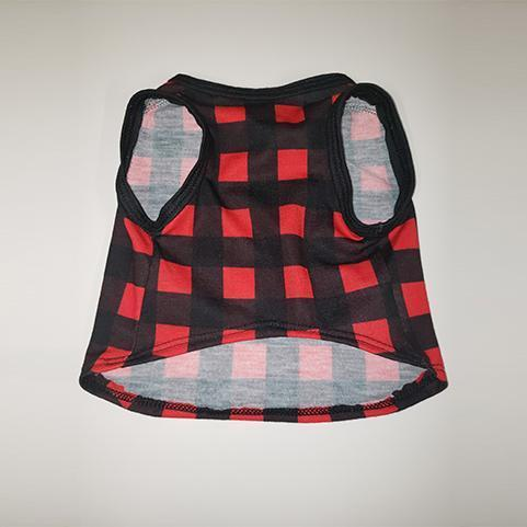 Red & Black Plaid Cat and Dog T-Shirt