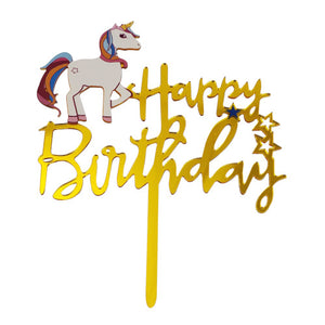 "CAKE TOPPER ACRILICO ""HAPPY BIRTHDAY"" DORADO UNICORNIO"