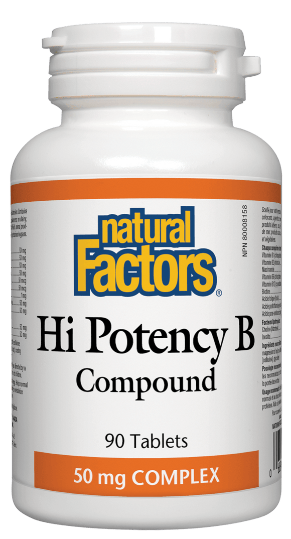 Natural Factors Hi Potency B Complex, 50 mg, 90 tabs