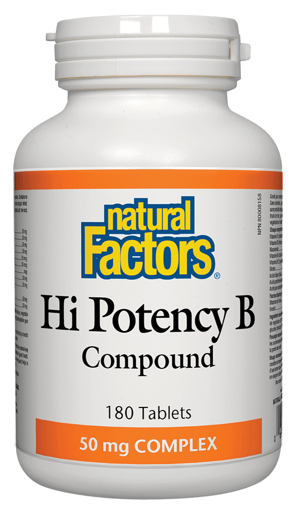 Natural Factors Hi Potency B Complex, 50 mg, 180 tabs