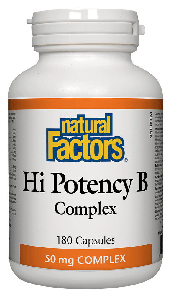 Natural Factors Hi Potency B Complex, 50mg, 180 caps