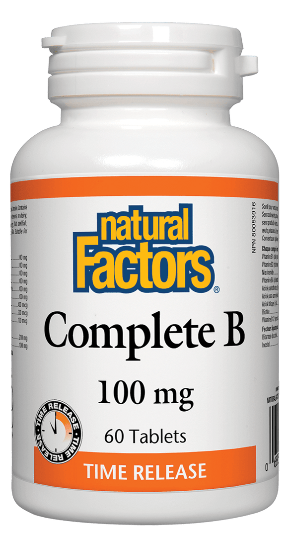 Natural Factors Complete Vitamin B, Time Release, 100 mg, 60 tabs