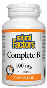 Natural Factors Complete Vitamin B, Time Release, 100 mg, 90 tabs