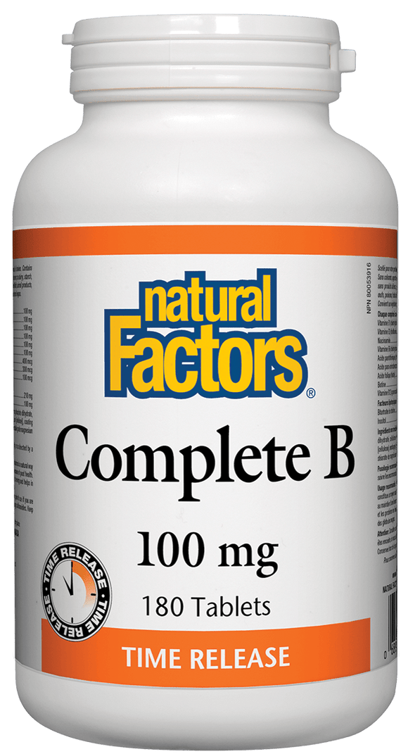 Natural Factors Complete Vitamin B, Time Release, 100 mg, 180 tabs