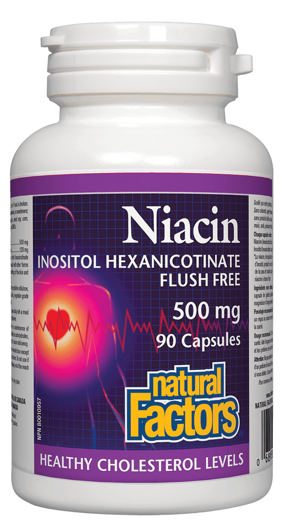 Natural Factors No Flush Niacin 500 mg, 90 capsules