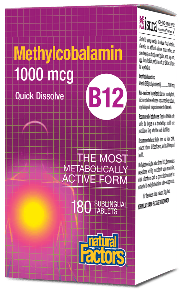 Natural Factors Vitamin B-12 Methylcobalamin, 1000mcg, 180 Sublingual tablets