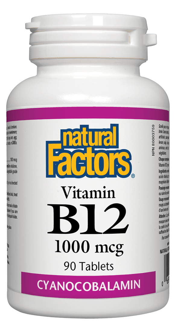 Natural Factors Vitamin B-12 Cyanocobalamin 1000mcg, 90 tabs