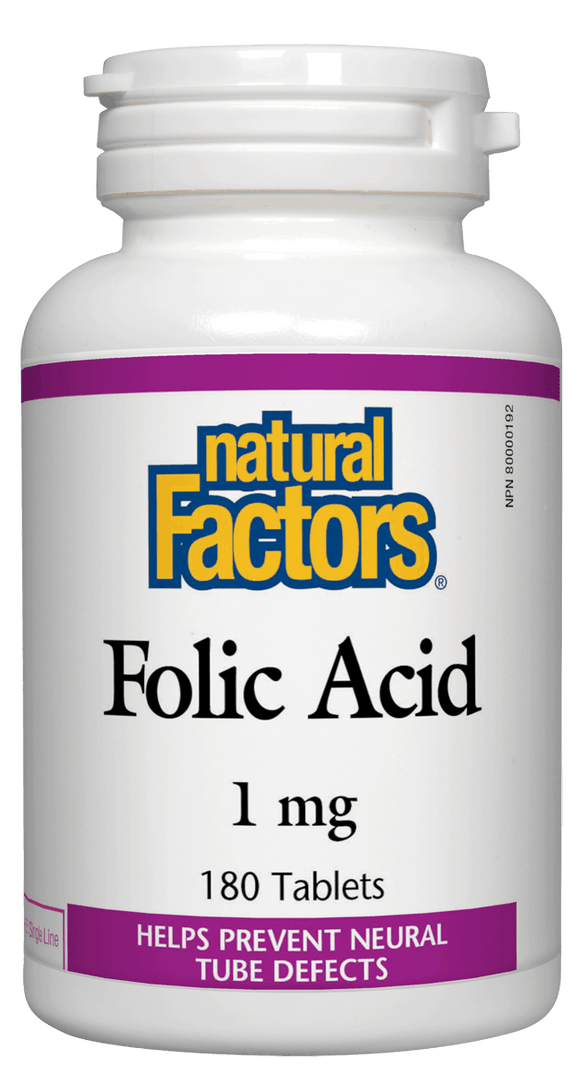 Natural Factors Folic Acid 1 mg, 180 tabs