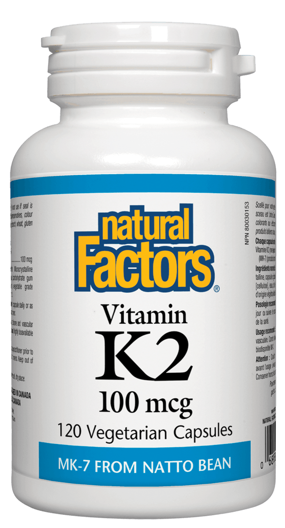 Natural Factors Vitamin K2, 120 Vegetarian Capsules