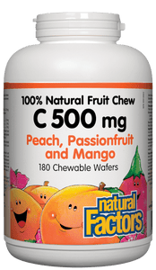 Natural Factors C 500mg passion, peach 180 chewable wafers