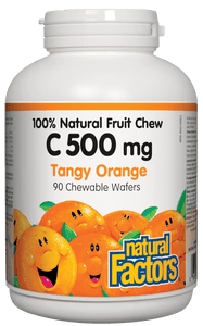 Natural Factors Vitamin C 500 mg Tangy Orange 90 Chewable Wafers