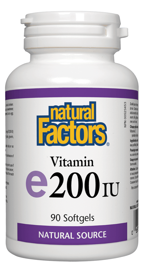 Natural Factors Vitamin E 200iu 90 softgels