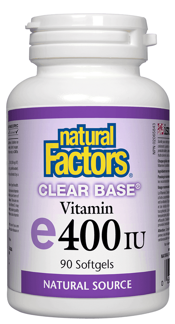 Natural Factors Vitamin E 400IU Clear Base, 90 softgels
