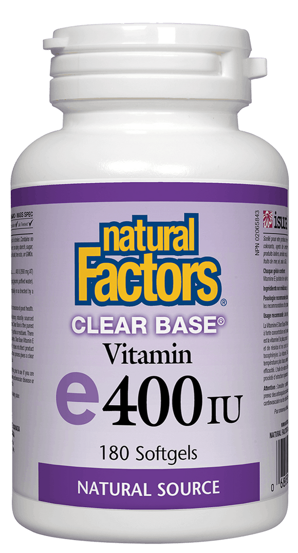 Natural Factors Vitamin E 400IU Clear Base, 180 softgels