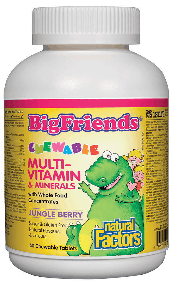 Natural Factors BigFriends Chewable Multivitamin and Minerals, Jungle Berry, 60 Chew tabs