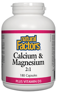 Natural Factors Calcium & Magnesium 2:1, with 100IU Vitamin D, 180 capsules