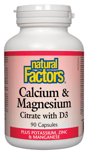 Natural Factors Calcium and Magnesium Citrate w/ D3, 90 caps