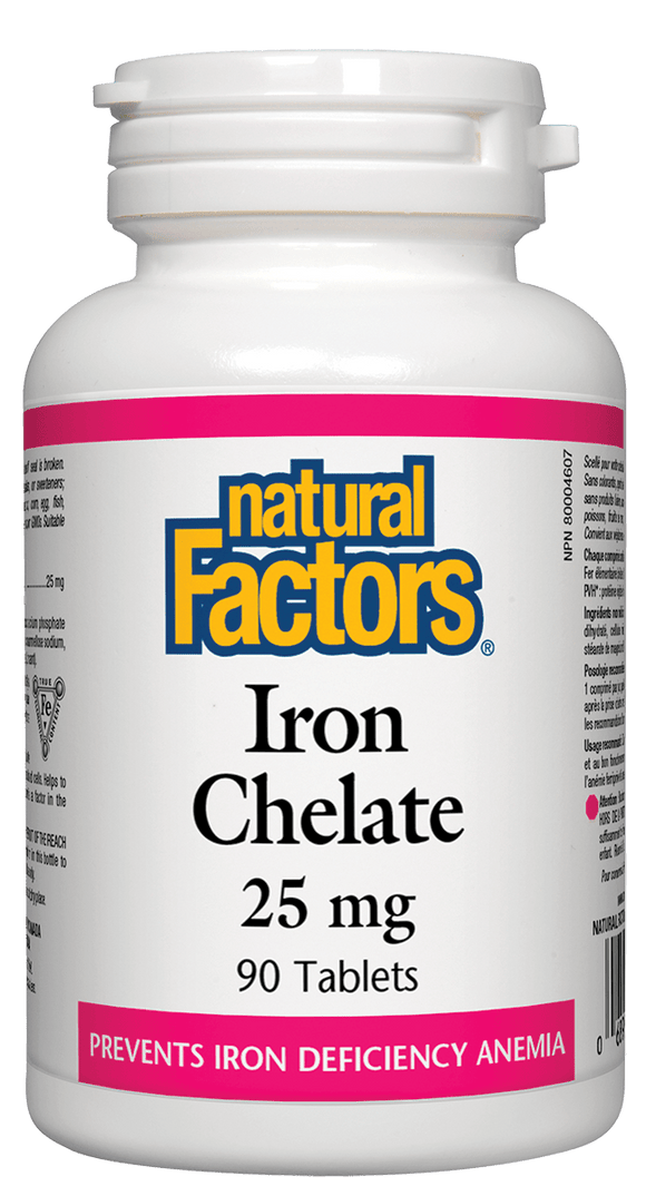 Natural Factors, Iron Chelate, 25mg, 90 tablets