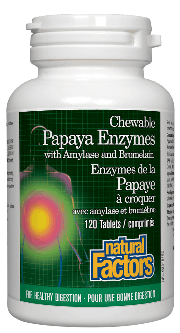 【clearance】Natural Factors Papaya Enzymes, 120 Chewable Tablets EXP:2022/01