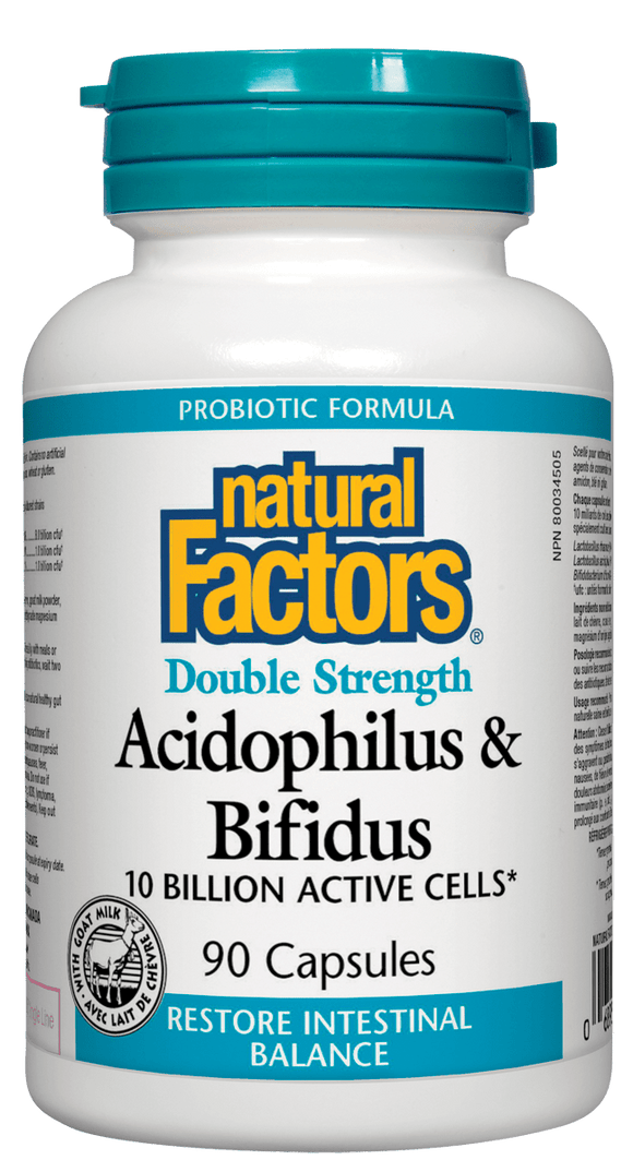 Natural Factors Acidophilus & Bifidus Double Strength, 90 caps